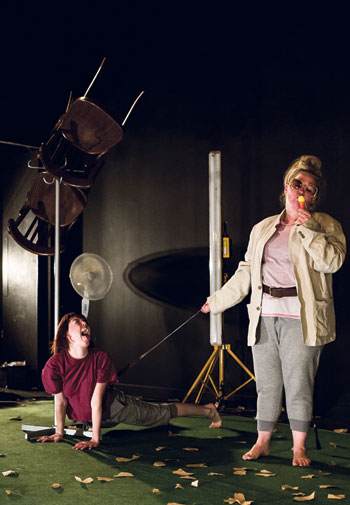 Haz Webb and Lisa Kerr in Kandinsky's Dog Show at the New Diorama Theatre – a production captioned by Alex Romeo. Photo: Richard Davenport