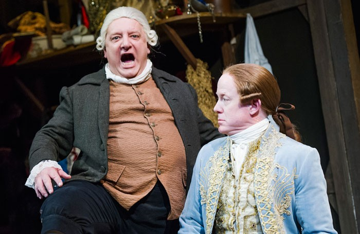 Simon Russell Beale and Ian Kelly in Mr Foote's Other Leg at Wyndham's Theatre. Photo: Tristram Kenton