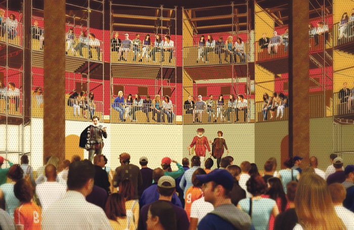 Artist's impression of the interior of the Pop-up Globe.