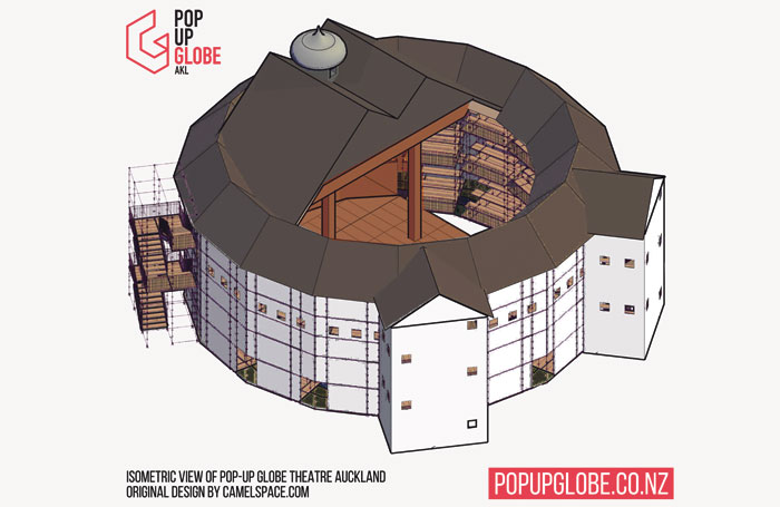 Isometric view of Lunchbox Theatrical's pop-up Globe Theatre in Auckland. Original design by Camelspace. Photo: Pop-up Globe