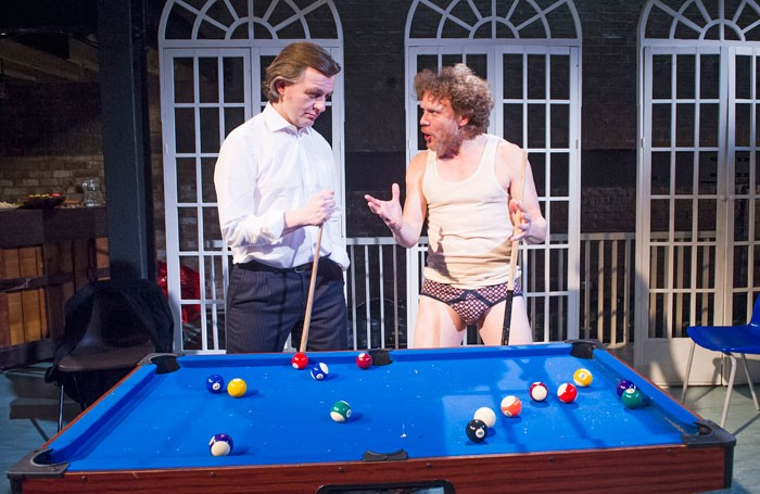 Alan Cox and Oscar Pearce in The Divided Laing at the Arcola Theatre. Photo: Tristram Kenton