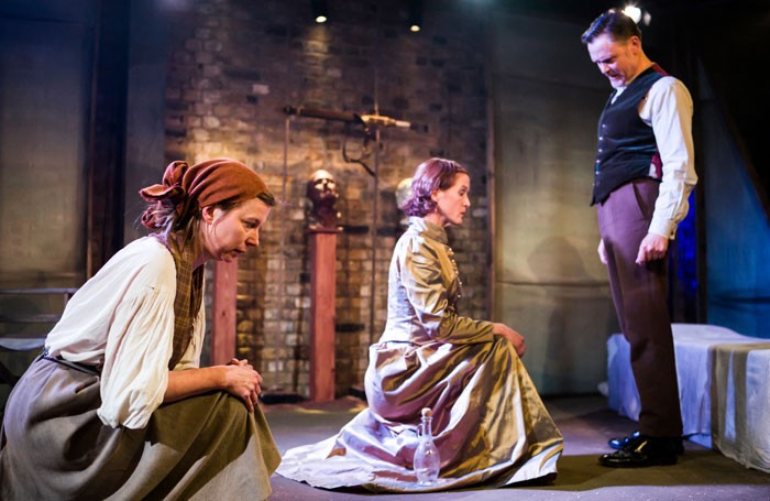 Kristin Hutchinson, Catherine Cusack and Liam Smith in Howard Baker's Judith: A Parting from the Body at the Arcola Theatre. Photo: Nick Rutter