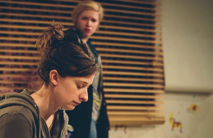 Sophie Steer and Sally Hodgkiss in Sparks at the Old Red Lion Theatre. Photo: JFK Man