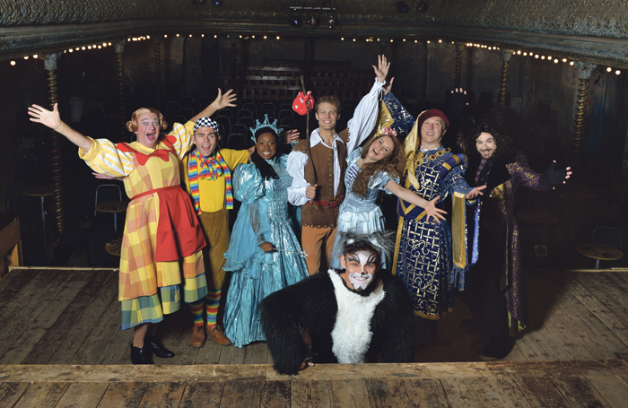 Roy Hudd (left); with cast members from Dick Whittington and His Cat in Wilton's Music Hall . Photo: Steve Ullathorne