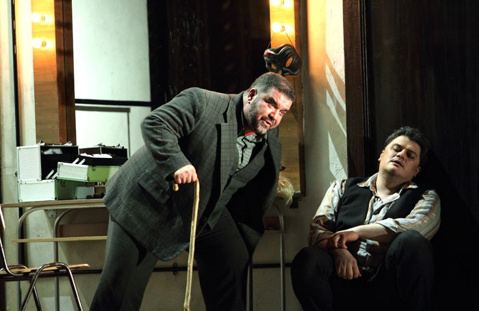 Dimitri Platanias and Aleksandrs Antonenko in Pagliacci at the Royal Opera House. Photo: Catherine Ashmore
