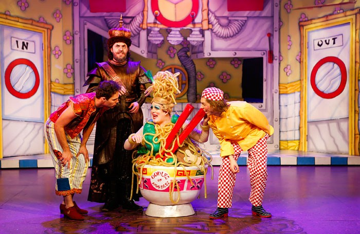 Benjamin Yates, Dan Smith, Morgan Brind and Dean Bray in Aladdin at Town Hall, Loughborough. Photo: Pamela Raith