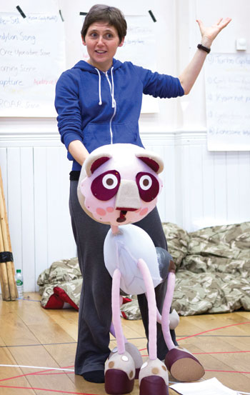 Director Wils Wilson in rehearsals for TheInsatiable, Inflatable Candylion