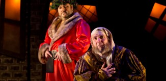 Darren Lake and Derek Frood in A Christmas Carol at Exeter's Northcutt Theatre. Photo: Farrows Creative