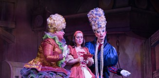 David Ball, Dani Harmer and Richard Colson in Cinderella at the Assembly Hall Theatre, Tunbridge Wells. Photo: Jez Timms