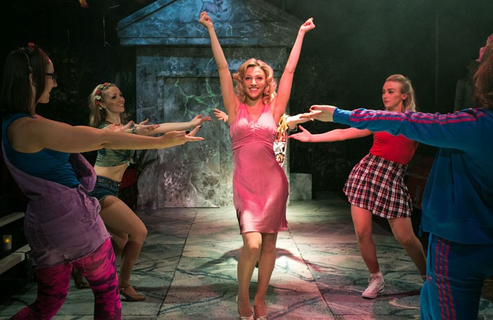 Abbie Chambers and cast in Legally Blonde the Musical at Upstairs at the Gatehouse, London. Photo: Darren Bell