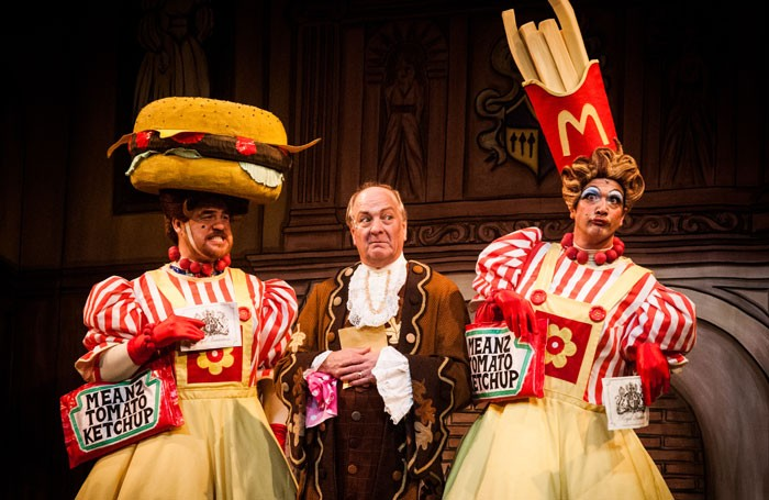 Richard Walsh, Stewart Wright and Matt Daines in Cinderella at Fairfield Halls, Croydon. Photo: Frazer Ashford