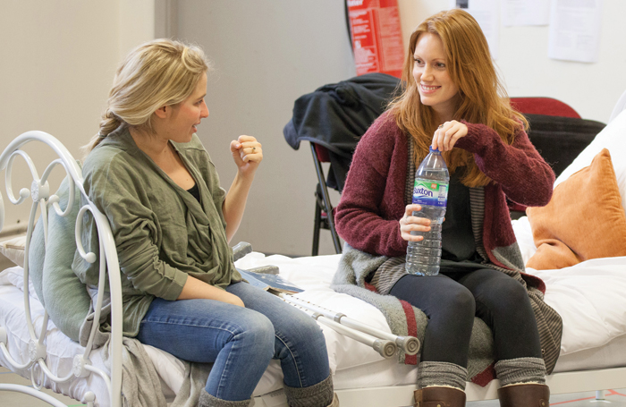 Elizabeth Newman with Clare Foster in rehearsals for Duet for One and Separation which were performed in repertoire at Bolton Octagon in 2014. Photo: Ray Jefferson/Bolton Camera Club
