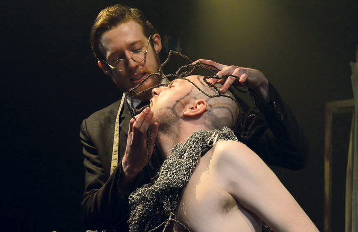 Scott McGarrick and Daniel Chrisostomou in Fourth Monkey's production of The Elephant Man, for which the repertory training company secured funding from Arts Council England for a seven-month tour in 2014. Photo: Anthony Hollis