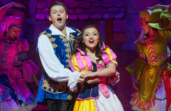 Greg Barrowman and Frances Mayli McCann in Snow White and the Seven Dwarfs at King's Theatre, Edinburgh. Photo: Douglas Robertson