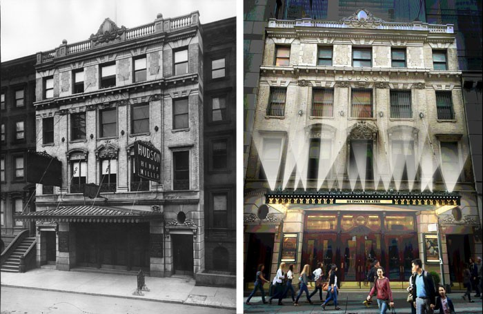 The Hudson Theatre in 1904 (left) and an artist's impression of the reopened venue. Photos: Getty/M+J Architects