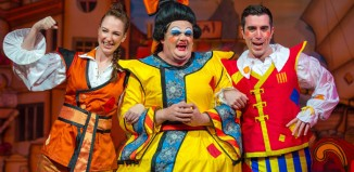 Naomi Bullock, Fred Broom and Matthew Quinn in Aladdin at the Queen's Theatre Hornchurch. Photo: Mark Sepple