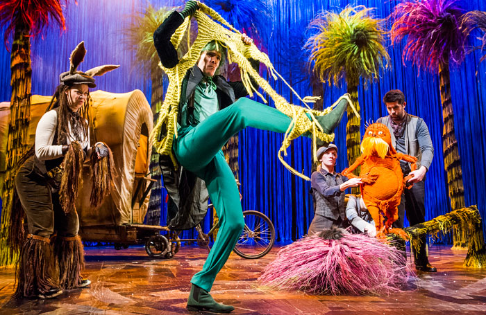 Emily Houghton, Simon Paisley Day, Laura Cubitt and Simon Lipkin in The Lorax at the Old Vic Theatre. Photo: Tristram Kenton
