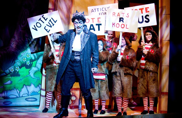 Oliver Broad as Atticus Ratticus in Phil Willmott's production of Dick Whittington at the Corn Exchange in Newbury. Photo: Sheila Burnett