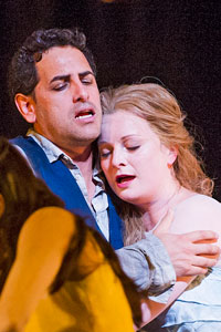 Juan Diego Florez (Orphee) and Lucy Crowe (Eurydice) in Orphee Et Eurydice. Photo: Tristram Kenton