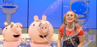 Emma Grace Arends with puppets in Peppa Pig's Surprise! Photo: Dan Tsantilis