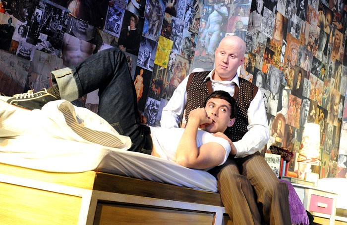 Chris New (Joe Orton) and Matt Lucas (Kenneth Halliwell) in Prick Up Your Ears at the Comedy Theatre. Photo: Tristam Kenton