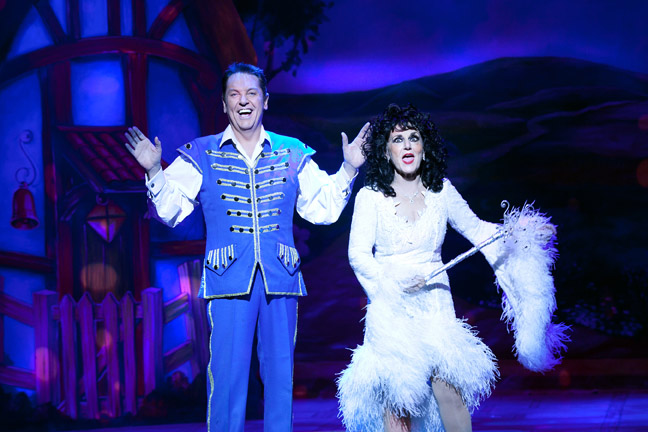Brian Conley and Lesley Joseph in Cinderella at the Cliffs Pavilion, Southend. Photo: Sheila Burnett