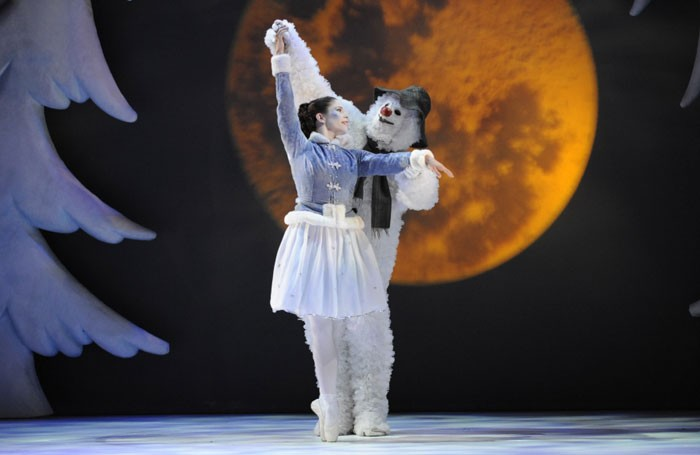 Scene from The Snowman at the Peacock Theatre, London. Photo: Sadler's Wells