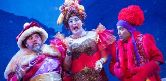 Tim Freeman, Antony Stuart-Hicks and Dale Superville in Aladdin at the Mercury Theatre, Colchester. Photo: Mike Kwasniak