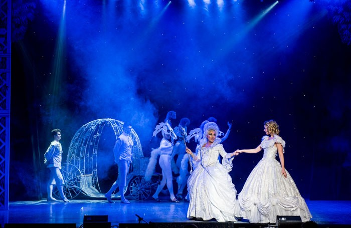 Jessie Wallace and Daisy Steere in Cinderella at the White Rock Theatre, Hastings. Photo: Peter Mould