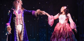 Charlie Bowyer and Jessica Niles in Beauty and the Beast at the Belgrade Theatre, Coventry. Photo: Robert Day