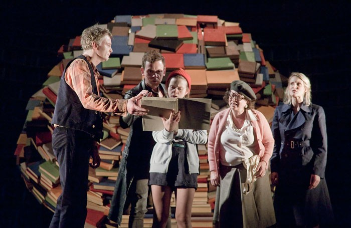 Paul McEwan, Andrew Sheridan, Katherine Carlton, Rachel Atkins and Kelly Hotten in Inkheart at Home, Manchester. Photo: Graeme Cooper