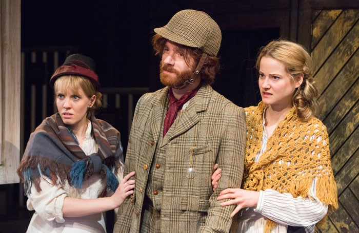Louise Callaghan, Christian Edwards and Mabel Clements in Holy Mackerel at Sir John Mills Theatre, Ipswich. Photo: Mike Kwasniak