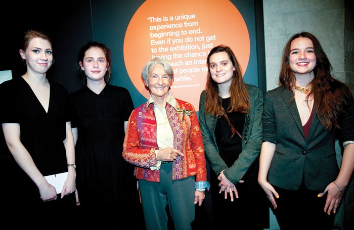 Linbury Prize for Stage Design winners Jen McGinley, Camilla Clarke, Philippa Brocklehurst and Grace Smart with Anya Sainsbury (centre). Photo: Sheila Burnett