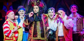 Craig Revel Horwood as Captain Hook and Paul Burling as Smee in Peter Pan at the Wycombe Swan. Photo: Robert Workman