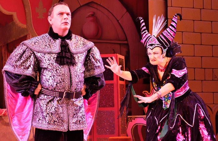Adam Woodyatt and Jenny-Ann Topham in Snow White and the Seven Dwarfs at Wyvern Theatre, Swindon. Photo: Peter Dewhirst