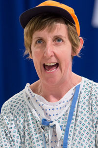 Julie Hesmondhalgh in rehearsals for Wit. Photo: Jonathan Keenan