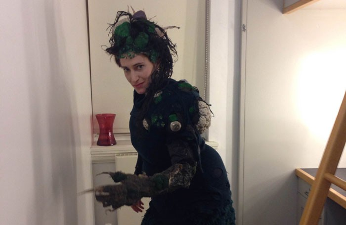 Melissa Bayern in costume backstage at the Royal Exchange, Manchester, as the Witch in Into the Woods