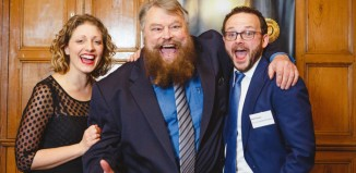 Brian Blessed with GSC co-founders Sarah Gobran and Matt Pinches. Photo: Matt Pereira
