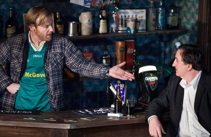 Brian Gleeson and Gary Lydon in The Weir at the Edinburgh Lyceum. Photo: Drew Farrell