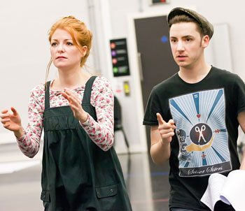 Drew McOnie rehearsing with Laura Pitt-Pulford for The Sound of Music at Curve Theatre. Photo: Pamela Raith Photography