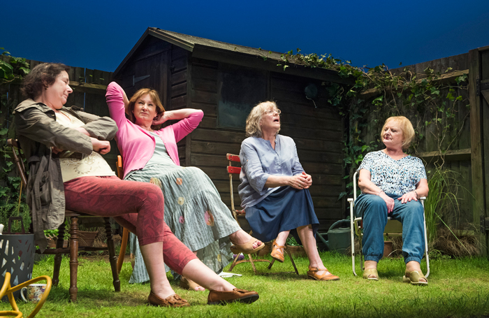 Linda Bassett, Deborah Findlay, Kika Markham and June Watson in Escaped Alone at the Jerwood Theatre Downstairs. Photo: Tristram Kenton