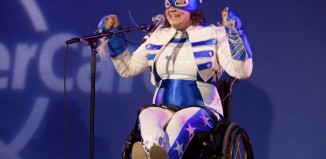 Jess Thom performs as Touretteshero at the Southbank Centre in 2014. Photo: Rachel Cherry