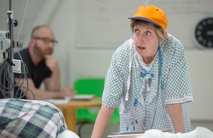 Julie Hesmondhalgh in rehearsals for Wit and the Royal Exchange Theatre, Manchester. Photo: Jonathan Keenan
