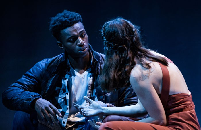 Anna Elijasz as Ariadne and Theo Solomon as Theseus in Minotaur, Unicorn Theatre, London Photo: Richard Davenport