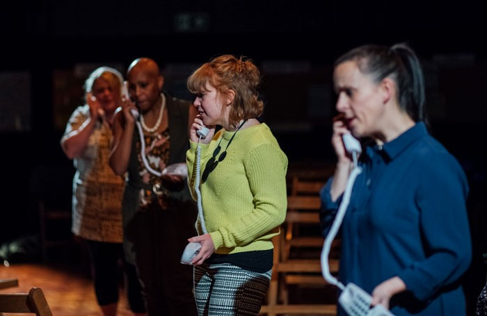 The cast of Partus at the Sheffield Crucible Studio. Photo: Helena Fletcher