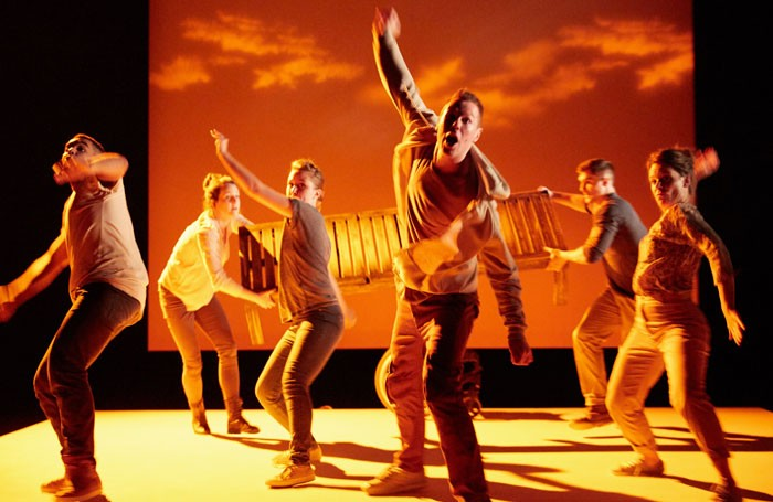 The cast of Pink Mist at the Bush Theatre, London Photo: Mark Douet