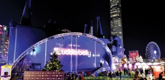 The Udderbelly venue in Central Harbourfront Event Space. Photo: Andrew Oliver