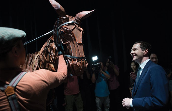 George Osborne meets the Chinese cast of the stage show War Horse at the National Theatre in Beijing. Photo: PA/Press Association Images
