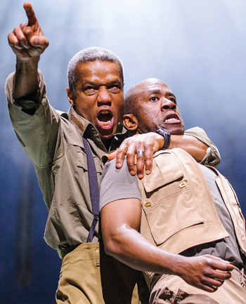 Hugh Quarshie with Msamati in the Royal Shakespeare Company production of Othello, 2015. Photo:  Tristram Kenton