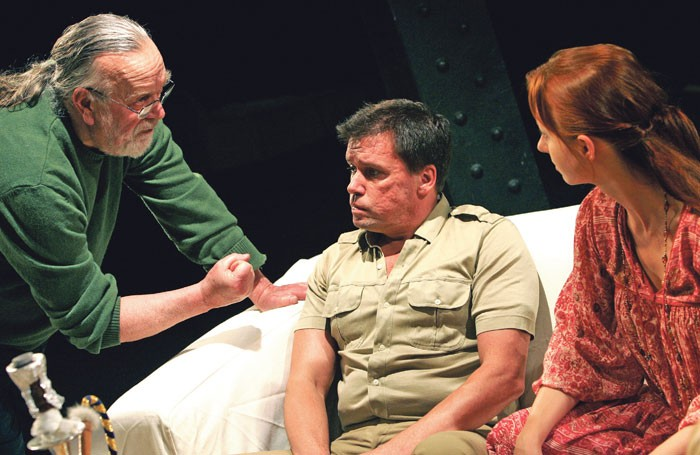 William Gaskill directing Mark Carroll and Melisande Cook in What's in Alaska? from Carver at the Arcola Theatre, London, in 2005. Photo: Tristram Kenton